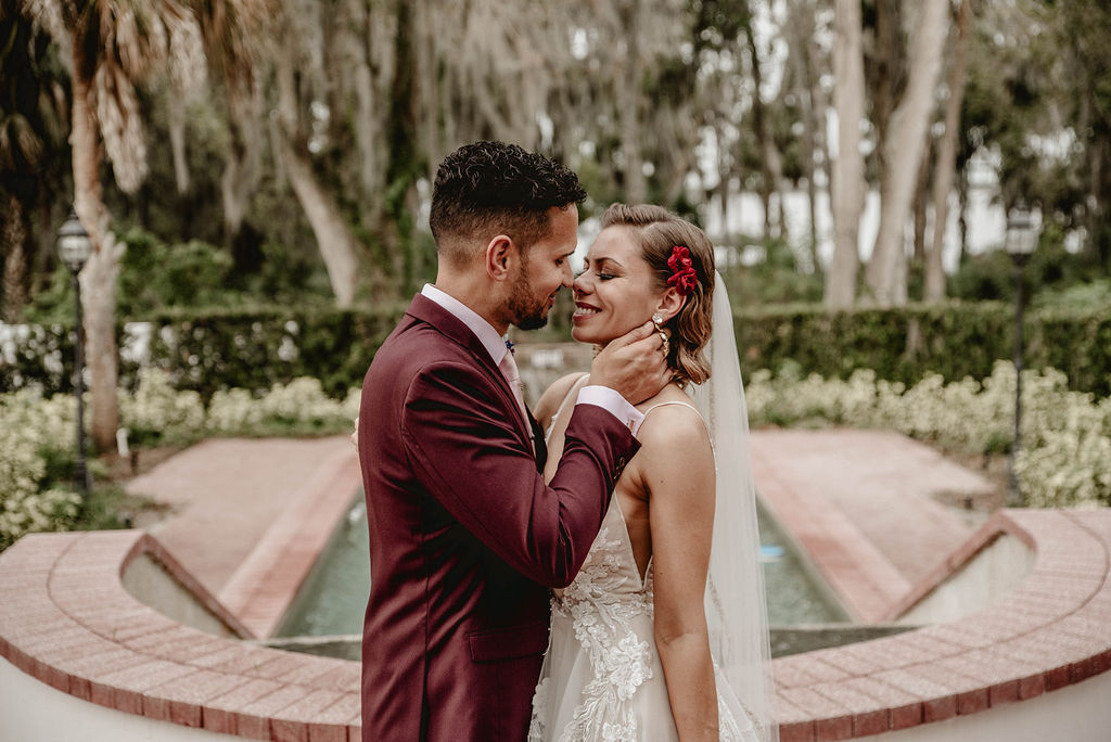 Maria & Carlos's Romantic Burgundy Luxmore Grande Estate Wedding